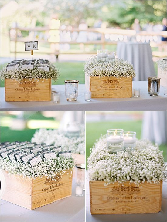 Baby's breath in wine boxes with place cards on top / http://www.deerpearlflowers.com/rustic-budget-friendly-gypsophila-babys-breath-wedding-ideas/3/