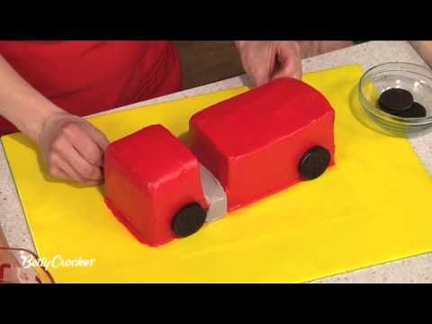 ▶ How To Make a Fire Truck Birthday Cake with Betty Crocker - YouTube : might need adapting slightly for a British fire engine, but I think this is my basic plan for Jowan's fireman sam party cake :)