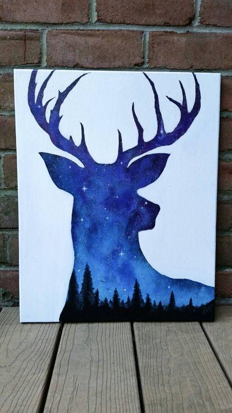 Peinture de ciel de nuit, peinture acrylique, art deer, art animalier, peinture de l