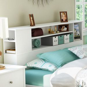 Bookcase headboard - I actually intend on buying this within the next two weeks. Walmart! <3