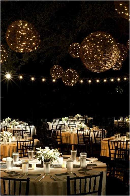 Outdoor Wedding Decorating Ideas for Your Best Moment in Life ...   these orbs could be made using twine and paper mache around large balloons and then using small string lights acquired from after-Christmas sales.