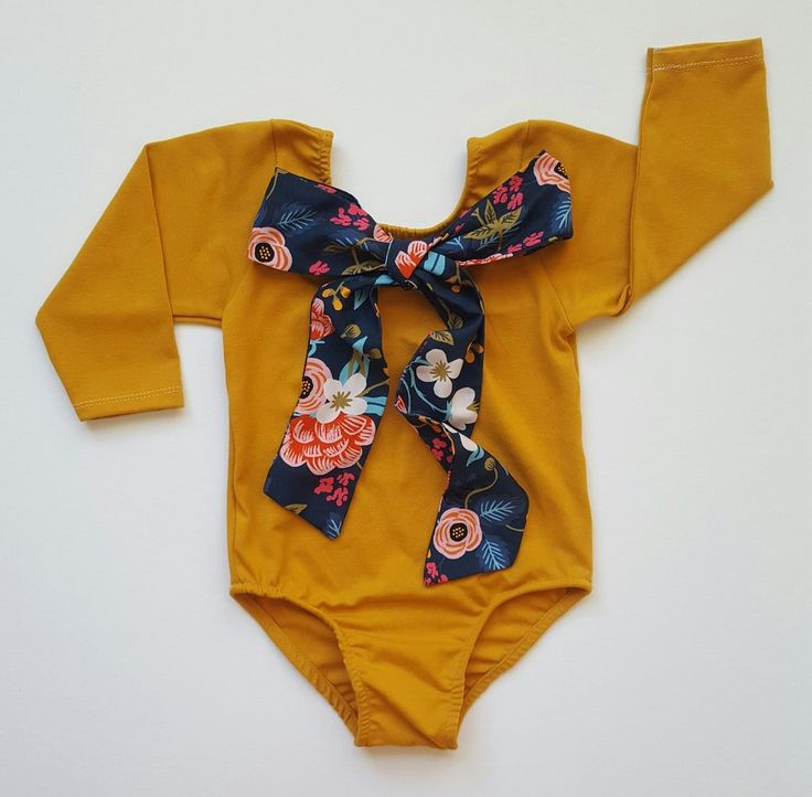 Mustard bow leotard - Cute baby girl clothing