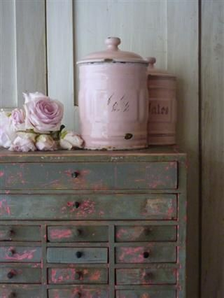 mallejet brocante love the pink jug & all the wonderful colors of the old worn apothecary cabinet :0)