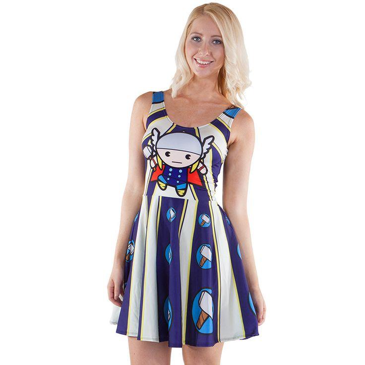 NEW Arriva 1164 Sexy Girl Women Summer Q-version The Avengers Thor Superhero 3D Print Reversible Sleeveless Skater Pleated Dress #Affiliate