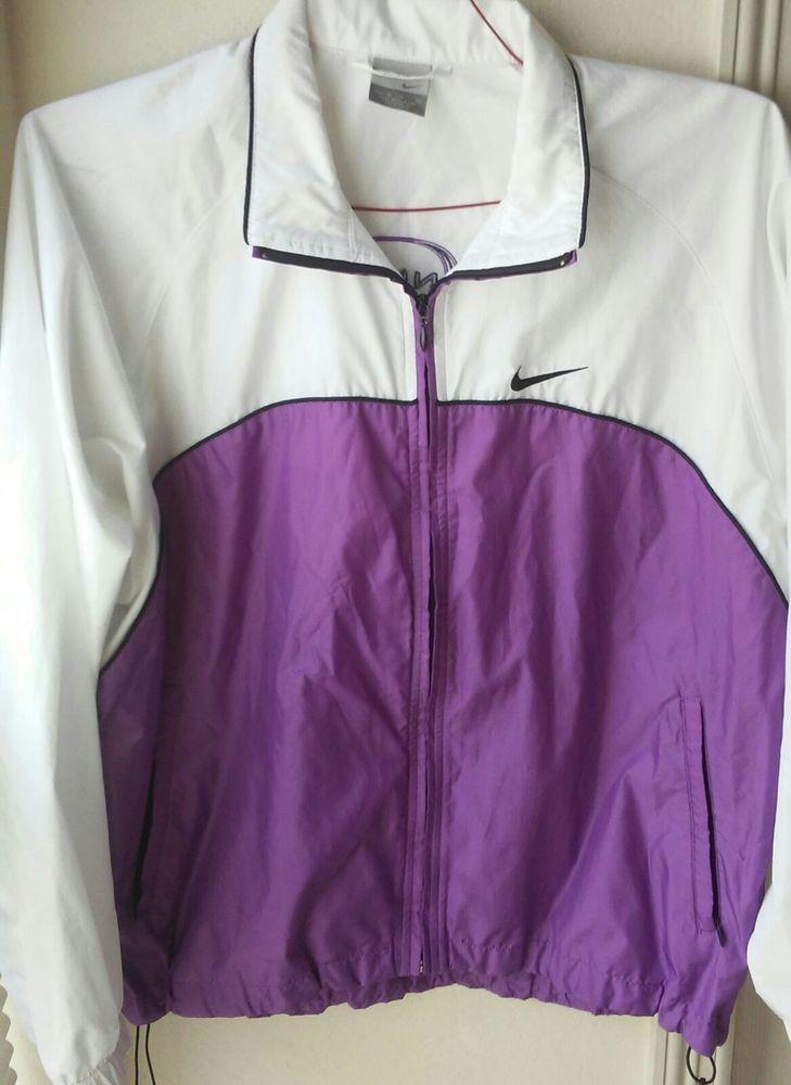Nike Womens Windbreaker Vintage 90s Nike Full Zip Purple Black White Medium   Nike  CoatsJackets 30b6b0489