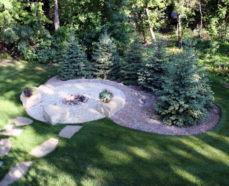Firepit With Evergreen Privacy Screen Otten Bros