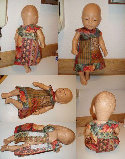 Robe pour poupée , Patron gratuit de vêtement de poupée