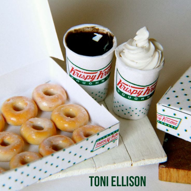 Toni Ellison: Krispy Kreme Doughnuts  Coffee : Miniature Polymer Clay Food Tutorial