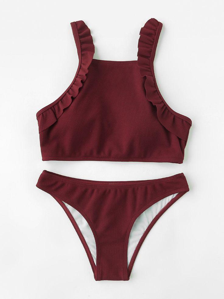 Shop Ruffle Detail Ribbed Bikini Set online. SheIn offers Ruffle Detail Ribbed Bikini Set & more to fit your fashionable needs.