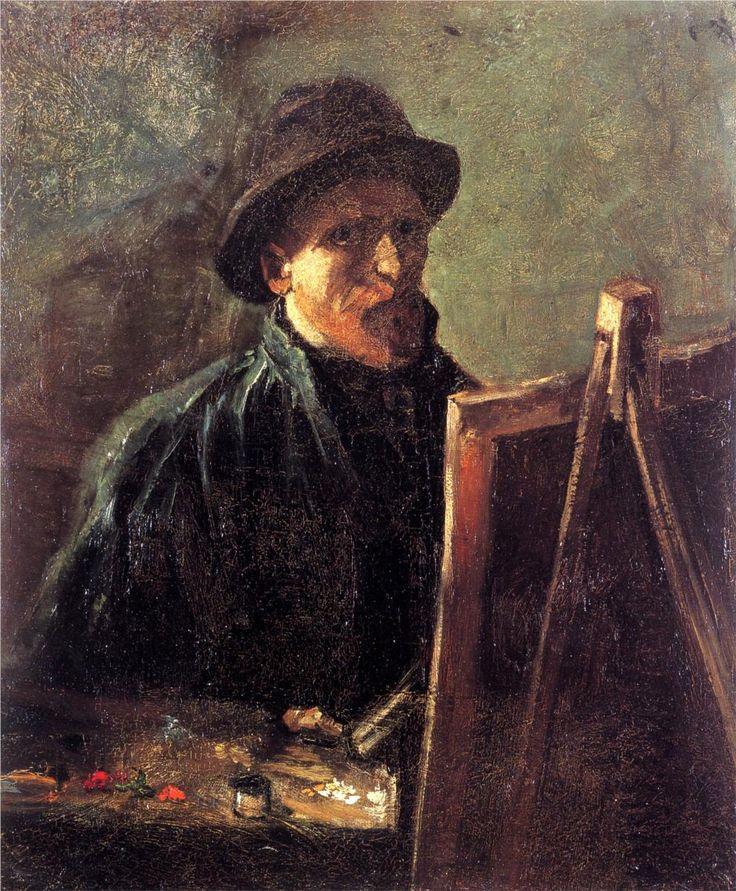 Self-Portrait with Dark Felt Hat at the Easel, 1886 -Vincent van Gogh