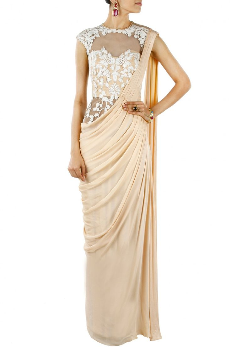 Nude and ivory pre stitched sari-gown BY SONAAKSHI RAAJ.