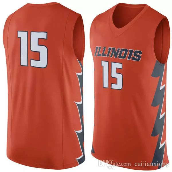 No.15 Illinois Fighting Illini College Basketball Jersey embroidery setback cheap Jerseys men size S-3XL fast shipping