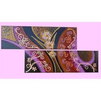 """Quadri-Moderni-Astratti. """"Barocco astratto-moderno"""" Tecnica mista su 2 tele 30x100. Il quadro modulare è una rappresentazione vivace del Barocco Leccese in chiave moderna. I decori, le crepe e gli stencil 3D glitterati giocano fra accostamenti di colori decisi e scuri."""