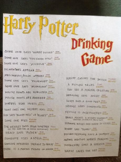 Harry Potter Drinking Game. @Becky Trevino can we do this sometime? Haha