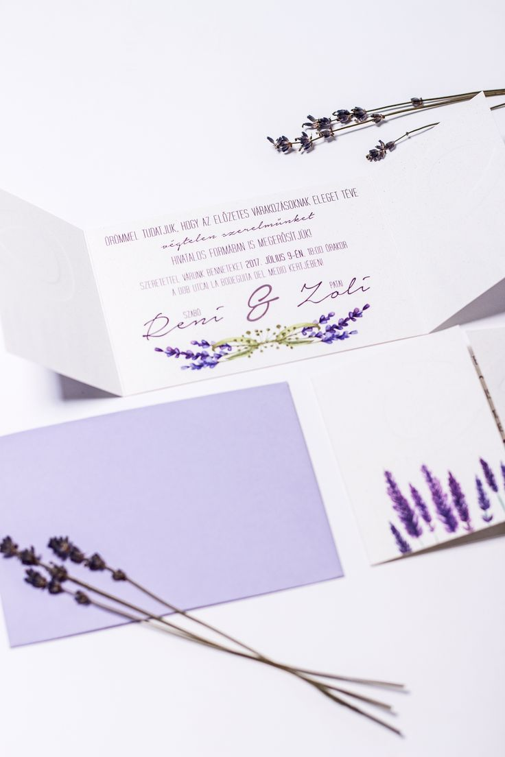 Levander wedding invitation with embossed details created by Zboznovits visuals.