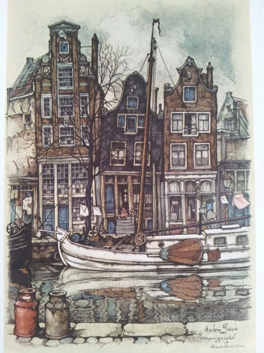 Amsterdam, Prinsengracht by Anton Pieck. My birthplace new Prinsengracht, on an arch...