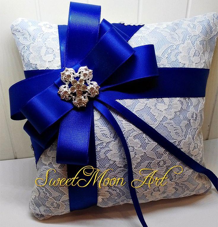 Almohada para anillos de boda, cojín para boda con encaje, cojín portador anillos, almohada anillos boda azul,almohada lazo azul de SweetMoonArt en Etsy