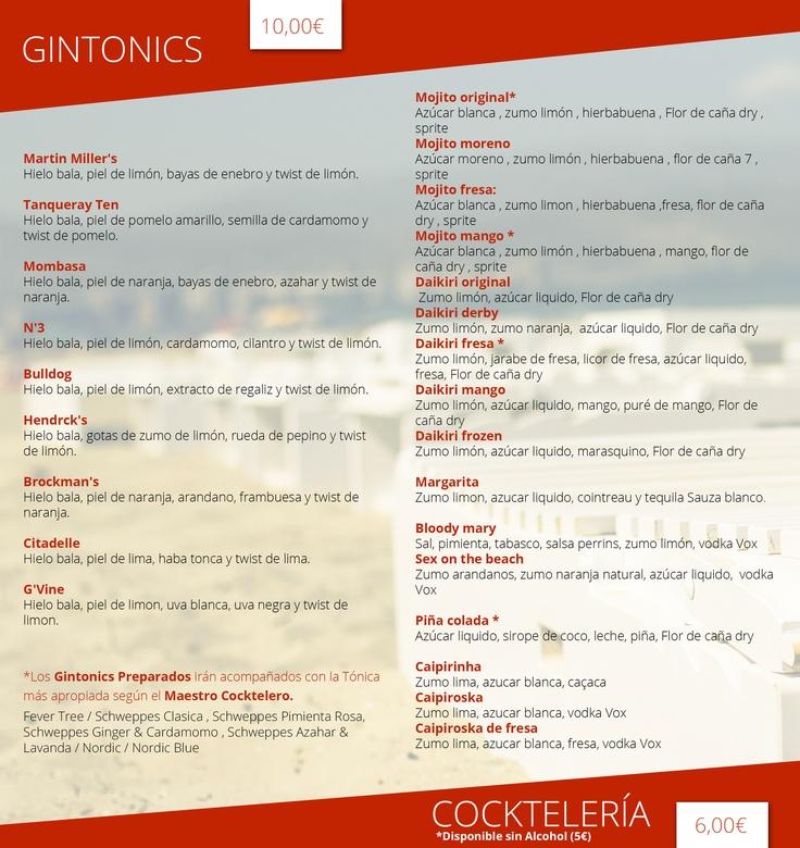 Carta de cocktails y Gintonics #TeatrePlaya