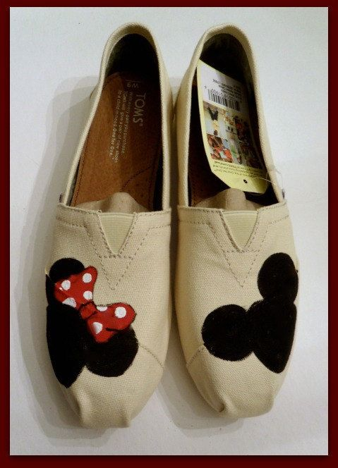 Disney TOMS Mickey and Minnie Painted TOMS Custom by StoneThicket