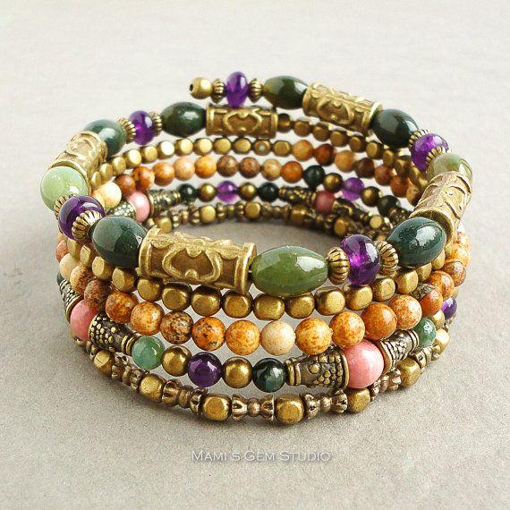 Boho Gypsy Bracelet, Wrap Around Bracelet, Beaded Memory Wire Bracelet, Amethyst, Jasper, Rhodonite, Antique Brass, Green Purple Pink