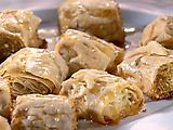 Baklava Roll-Ups. I've made this before and Mark absolutely loves it. He wants me to make it all the time. It's the easiest Baklava recipe I've found.