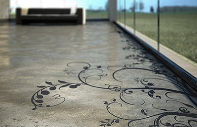 Stenciled concrete... could be really nice. Could also look really dumb if done wrong...