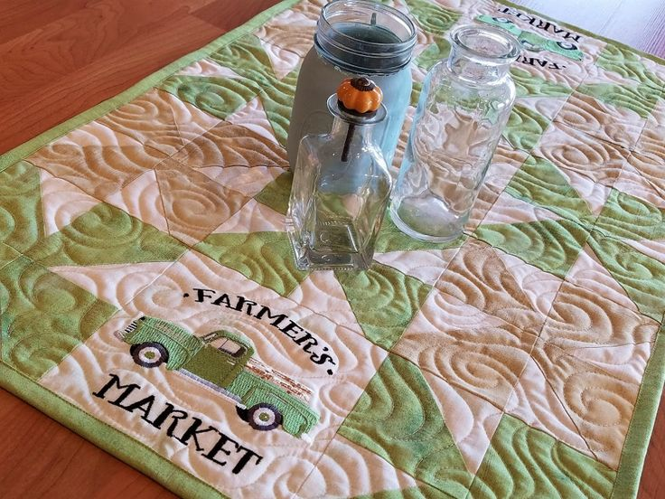 Table Runner, Topper, Farmers Market, Pickup Truck, Quilted, Embroidered, Green, Tan, Beige, Country, Cottage, Vintage by LeahLynnCreations on Etsy