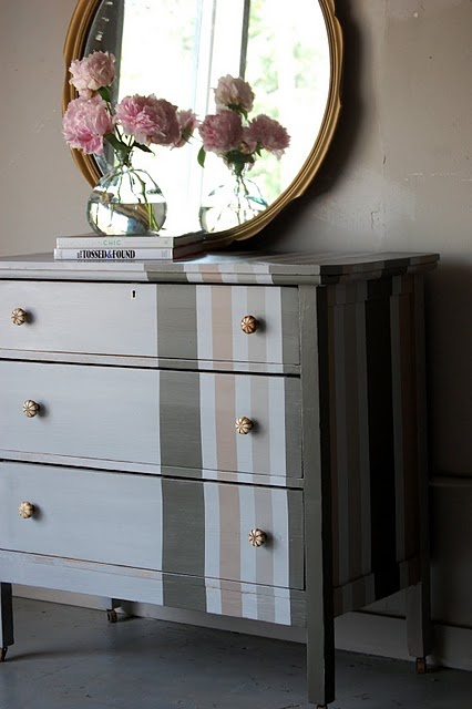 how cute are the stripes on this refinished dresser?