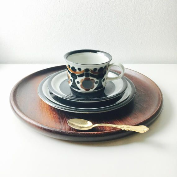 Vintage Arabia Finland ceramic coffee cup saucer and desert