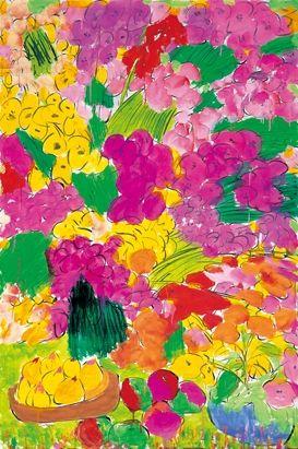 Walasse Ting, Neon Flowers & Fruit