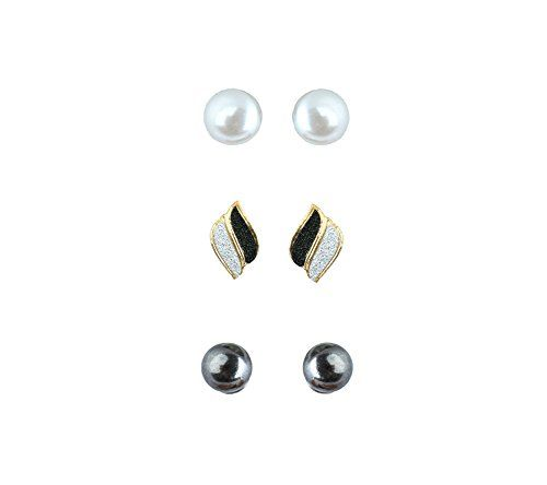 Waama Jewels Three Beautiful Studs Combination For Party Wear, & Winter Collection,South Indian Festival Pongal And Makar Sankranti Combo Earrings