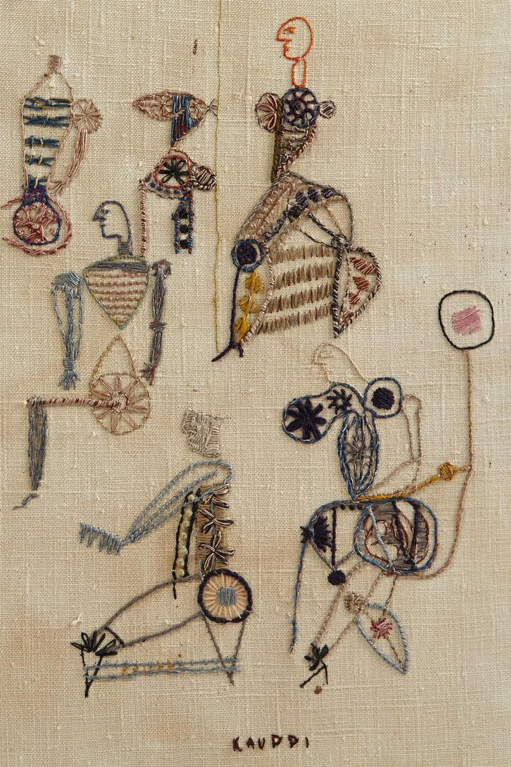 { detail } STEN KAUPI Tapestry, 'Ritual,' Sweden, circa 1960's | Unique hand embroidered tapestry; from the estate of the artist; 46 cm x 39 cm | MODERNITY of Stockholm