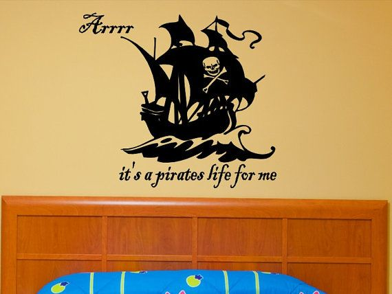 Pirate ship wall decal with skull and cross bones childrens bedroom pirate theme decoration pirate boat wall sticker nursery vinyl lettering