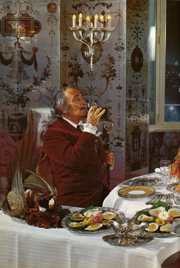 """from Salvador Dalí's Rare, Erotic Vintage Cookbook 'Les Diners de Gala'. """"I only like to eat what has a clear and intelligible form. If I hate that detestable degrading vegetable called spinach it is because it is shapeless, like Liberty."""" http://www.brainpickings.org/index.php/2014/04/29/salvador-dali-les-diners-de-galacookbook/"""