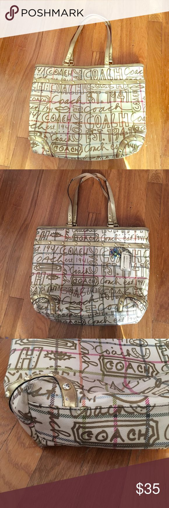 Coach Limited Edition Gold Tote Bag Big Tote Bag. Used but still in good condition. Very spacious with multiple pockets. The only defect of the corners of the Bag shown in last picture - still beautiful. Measurements: 14x12x4 Coach Bags Totes