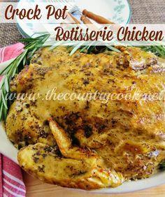 Crock Pot Rotisserie ChickenCrockpot Meals, Chicken Dinner, Crock Pot Rotisserie Chicken, Food, Crock Pots Rotisserie Chicken, Sunday Dinners, Country Cooking, Slow Cooker, Crockpot Recipe