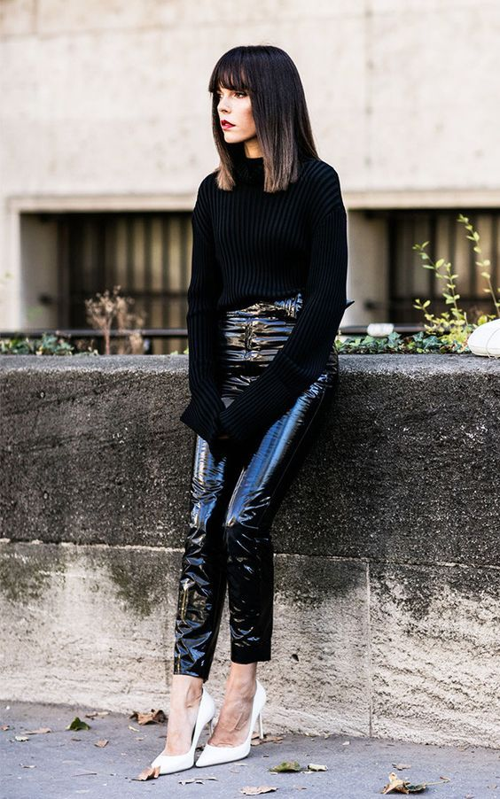 Black patent vinyl skinny pants paired with cozy black knit sweater and white pointy toe pumps.. DIY the look yourself: http://mjtrends.com/pins.php?name=patent-vinyl-pants
