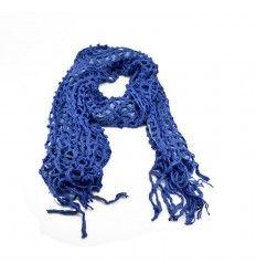 Køb dette lækre blå tørklæde i varmt strik og stof - 503650