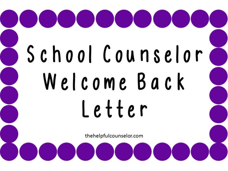 Welcome Back Letter from the School Counselor