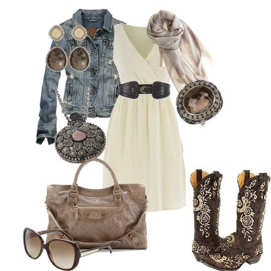 Cute dress and cowboy boot combination. Click image to see wear to get Womens Old Gringo Boot Lucky.