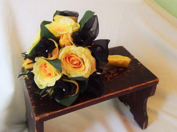 Yellow-Black Batman wedding Bridal bouquet by Bellizy on Etsy