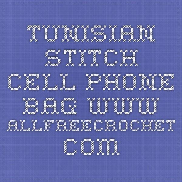 Tunisian stitch cell phone bag  www.allfreecrochet.com