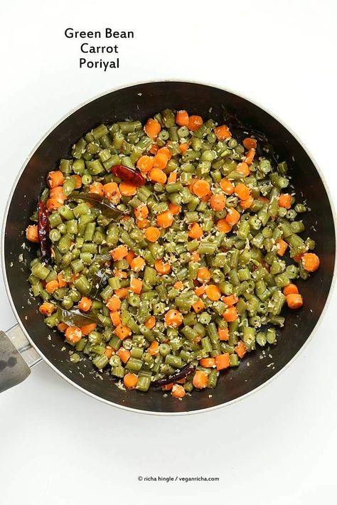Carrot Green Beans Poriyal - Green Beans Carrot Coconut stir fry - Vegan Richa