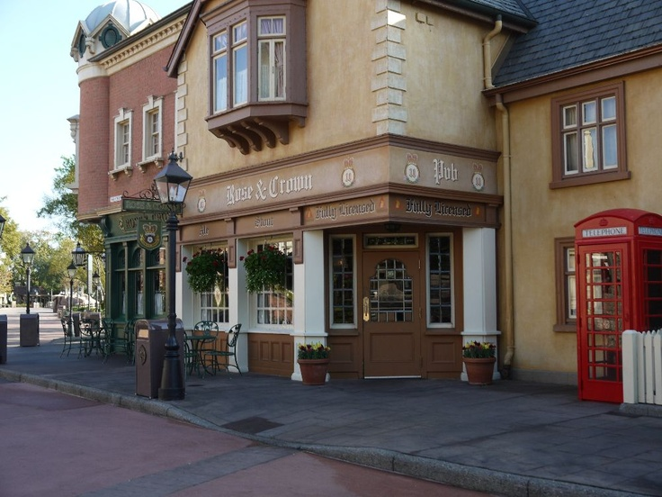 """Epcot's World Showcase Best Kept Secrets – United Kingdom.  I love the charming shops and we've enjoyed the """"fast food"""" Fish and Chips which we've taken down back and sat on the patio overlooking the water.  Secluded and relaxing!"""