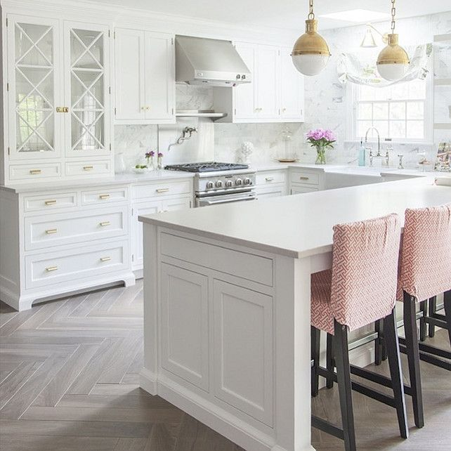 White Kitchen Cabinets With Gray Reclaimed Wood Floors In Herringbone  Pattern, Brass Pendant Light And Pink Counter Stools. I Think This Is The  Prettiest ... Part 72
