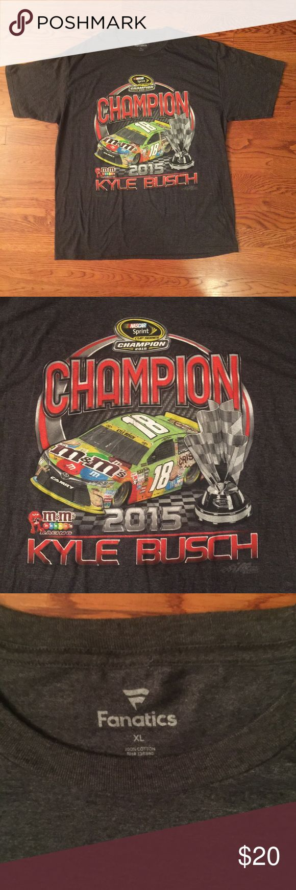 💥ON SALE 💥 Nascar T-Shirt This is a men's single sided Nascar Kyle Busch 2015 Champion T-Shirt in men's size XL. These shirts are really hot in streetwear right now because of the loud color schemes. You can dress these shirts up to compliment any outfit. Grab this shirt today‼️ Fanatics Shirts Tees - Short Sleeve