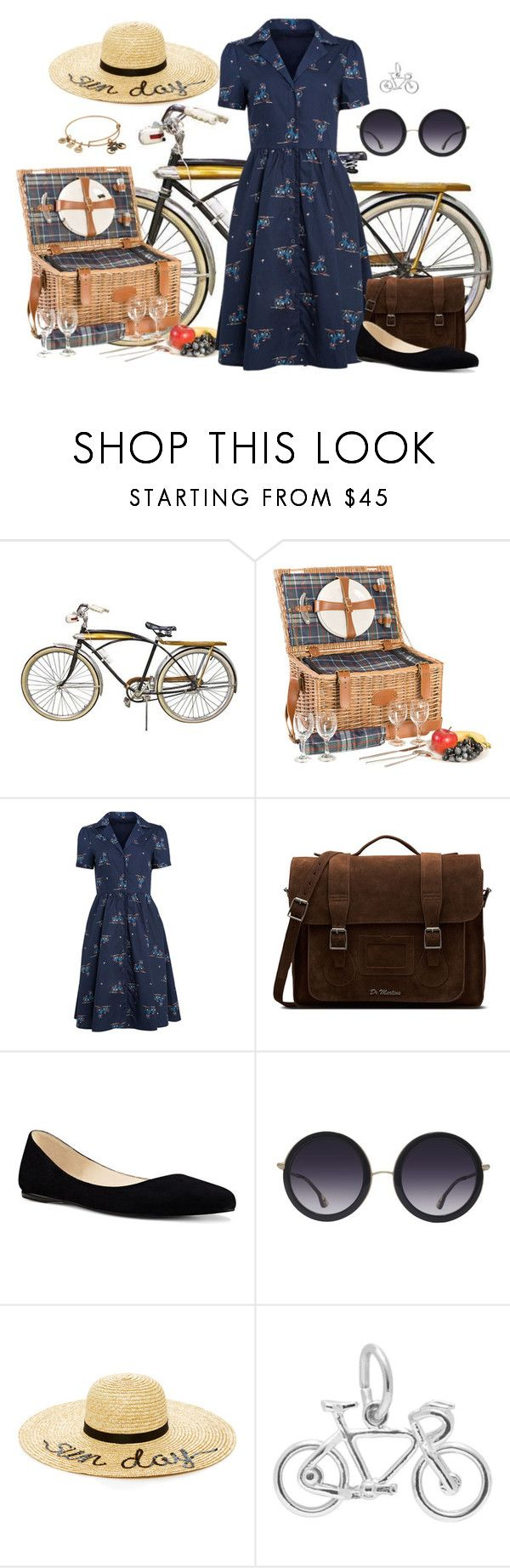 """Sunday Bike Ride"" by lily-mitchell ❤ liked on Polyvore featuring Les Jardins de la Comtesse, Dr. Martens, Nine West, Alice + Olivia, Eugenia Kim and Alex and Ani"