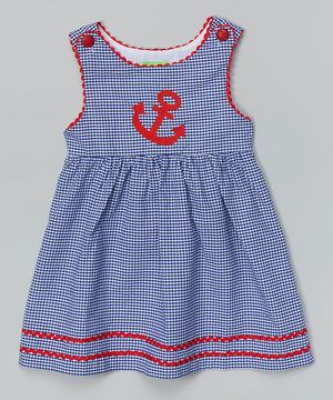 Look at this #zulilyfind! Blue & Red Gingham Anchor Dress - Infant, Toddler & Girls by Lil Cactus #zulilyfinds