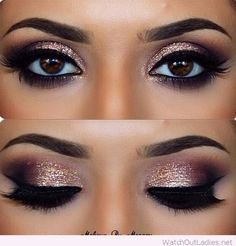 Amazing make-up for brown eyes with glitter