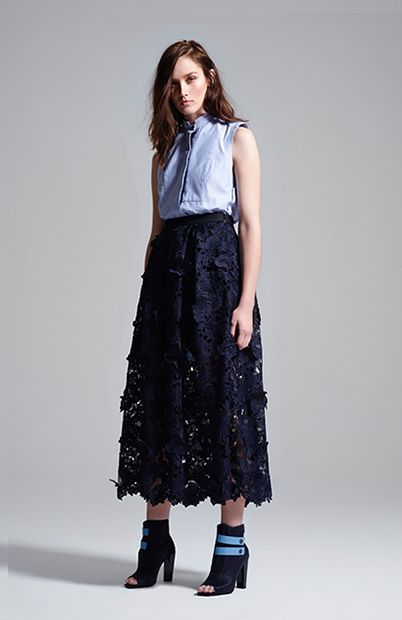 monogram sleeveless shirt in chambray & drama queen full skirt #manningcartell #gamesofscale #AW15